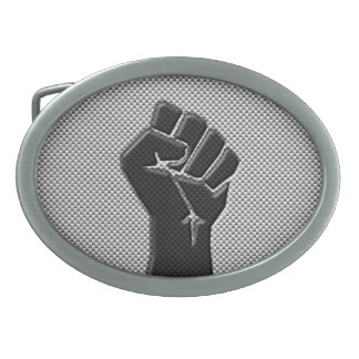 Solidarity Fist in Carbon Fiber Style Oval Belt Buckle