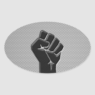 Solidarity Fist in Carbon Fiber Style Oval Sticker