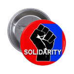 SOLIDARITY in Red, White, Blue and Black Pinback Buttons