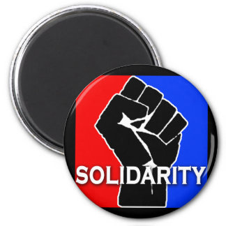 SOLIDARITY in Red, White, Blue and Black 2 Inch Round Magnet
