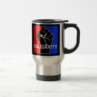 SOLIDARITY in Red, White, Blue and Black Travel Mug