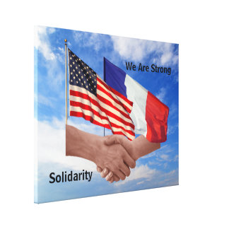 Solidarity USA & France Wrapped Canvas Print
