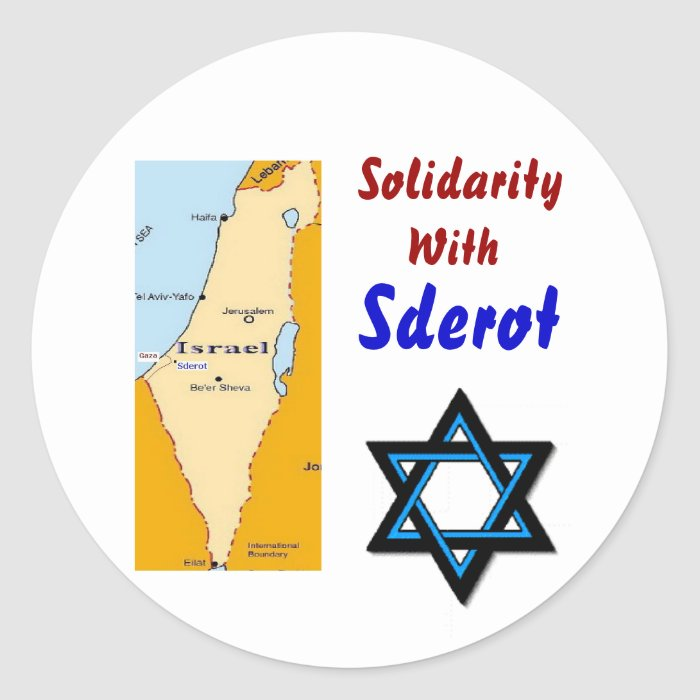 Solidarity With Sderot Classic Round Sticker