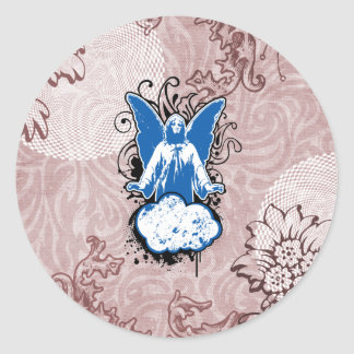 Sólido de aterrizaje del ángel, azul por pegatina redonda