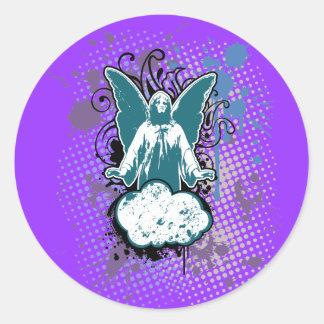 Sólido de aterrizaje del ángel, turquesa por pegatina redonda