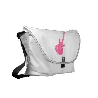 sólido rosa claro gráfico de la guitarra bolsas de mensajeria