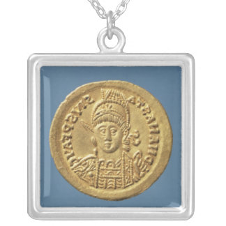 Solidus  minted by Theodoric I Silver Plated Necklace
