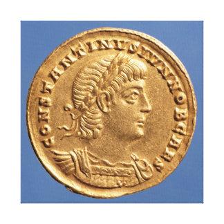 Solidus  of Constantine II Caesar cuirassed Canvas Print