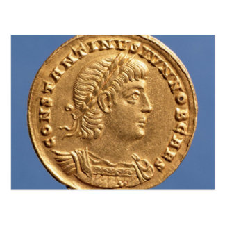 Solidus  of Constantine II Caesar cuirassed Postcard