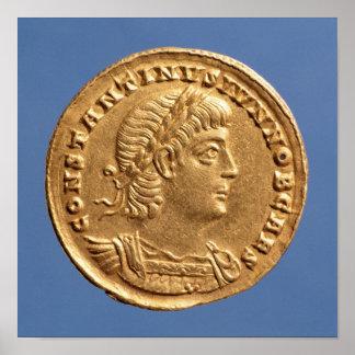 Solidus  of Constantine II Caesar cuirassed Poster