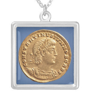 Solidus  of Constantine II Caesar cuirassed Silver Plated Necklace
