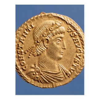 Solidus  of Constantinius II Postcard