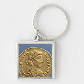 Solidus  of Gratian  draped Silver-Colored Square Keychain