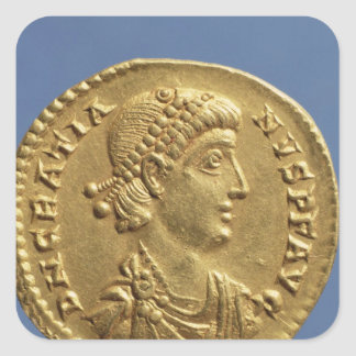 Solidus  of Gratian  draped Square Sticker