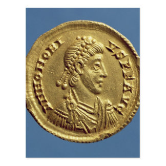 Solidus  of Honorius  drapes, cuirassed Postcard