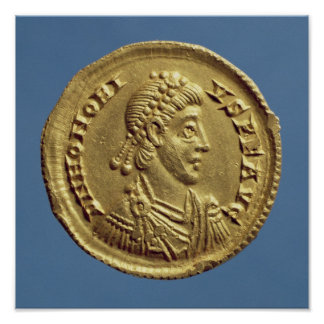 Solidus  of Honorius  drapes, cuirassed Poster