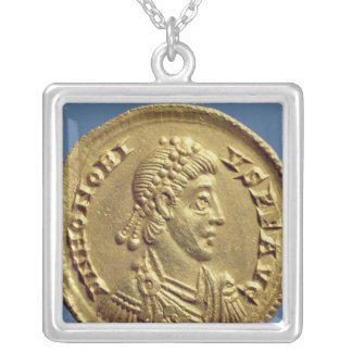 Solidus  of Honorius  drapes, cuirassed Silver Plated Necklace
