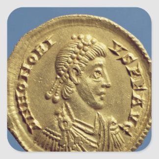 Solidus  of Honorius  drapes, cuirassed Square Sticker