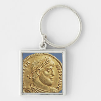Solidus  of Julian the Apostate  draped Silver-Colored Square Keychain