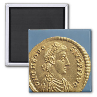Solidus  of Theodosius I the Great  draped 2 Inch Square Magnet