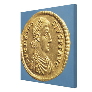 Solidus  of Theodosius I the Great  draped Canvas Print