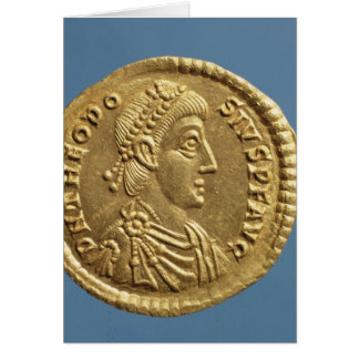 Solidus  of Theodosius I the Great  draped Greeting Card