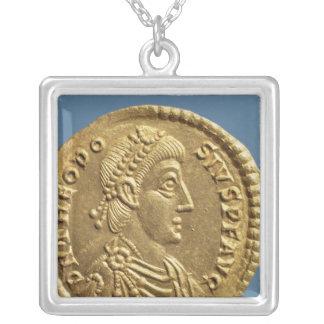 Solidus  of Theodosius I the Great  draped Square Pendant Necklace