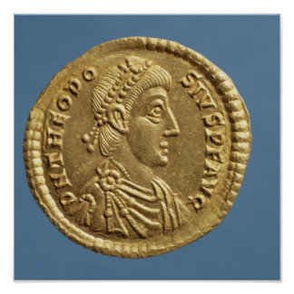 Solidus  of Theodosius I the Great  draped Poster