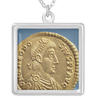 Solidus  of Theodosius I the Great  draped Silver Plated Necklace