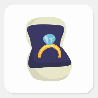 Solitario del diamante pegatina cuadrada