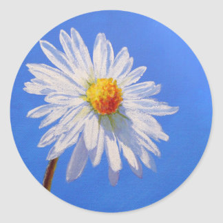 Solitary Daisy Classic Round Sticker