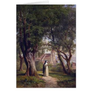 solitary nun greeting card