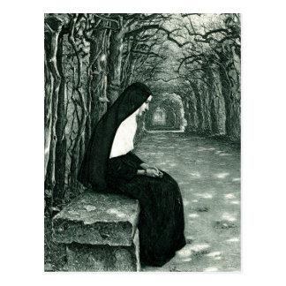 solitary nun postcard