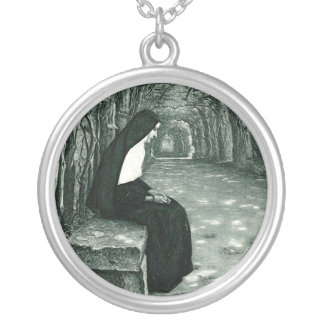 solitary nun round pendant necklace