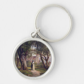 Solitary nun Silver-Colored round keychain