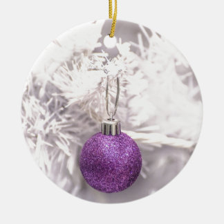 Solitary Purple Christmas Ball Ceramic Ornament