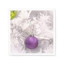 Solitary Purple Christmas Ball Paper Napkin