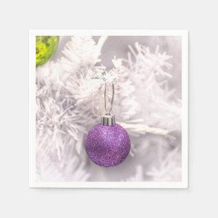 Solitary Purple Christmas Ball Paper Napkin at Zazzle