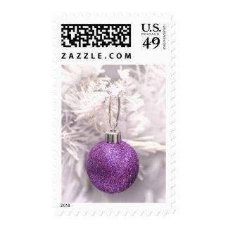 Solitary Purple Christmas Ball Postage Stamps