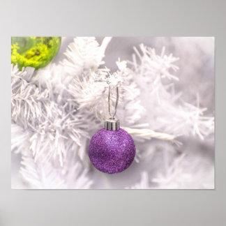 Solitary Purple Christmas Ball Poster