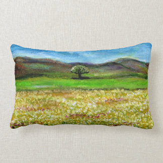 SOLITARY TREE IN THE GREEN YELLOW FLOWER FIELD LUMBAR PILLOW