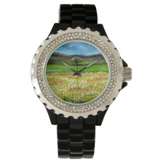 SOLITARY TREE IN THE GREEN YELLOW FLOWER FIELD WRISTWATCHES