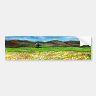 SOLITARY TREE IN THE YELLOW FLOWER FIELD,TUSCANY BUMPER STICKER