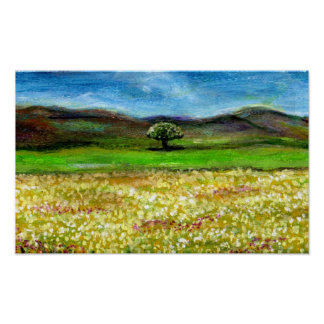 SOLITARY TREE IN THE YELLOW FLOWER FIELD,TUSCANY POSTER