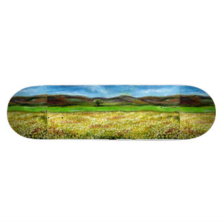 SOLITARY TREE IN THE YELLOW FLOWER FIELD,TUSCANY SKATEBOARD DECK