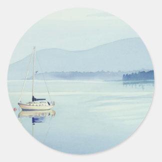 """""""Solitude"""" Single Sailboat Watercolor Classic Round Sticker"""