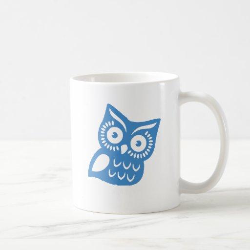 Solo búho azul taza clásica