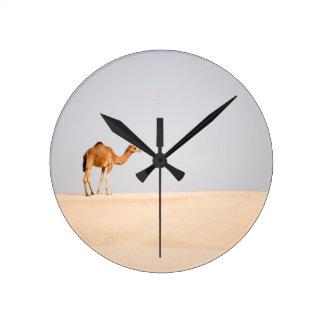 Solo camello en las dunas de arena árabes relojes de pared
