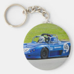 Solo coche de carreras azul del seater llavero personalizado