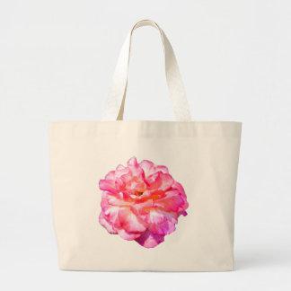 Solo color de rosa rosado bolsa tela grande